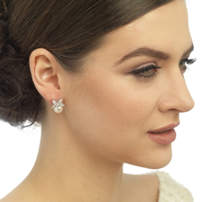 CZ Collection Delicate Pearl Earrings