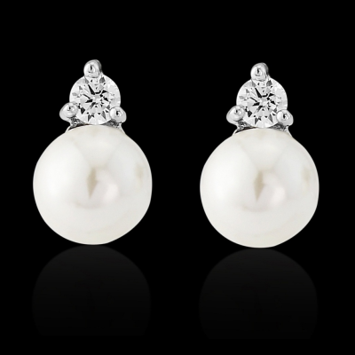 CZ Collection Dainty Pearl Earrings