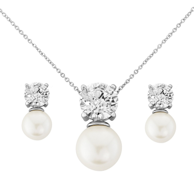 CZ Collection Elegance Pearl Necklace Set