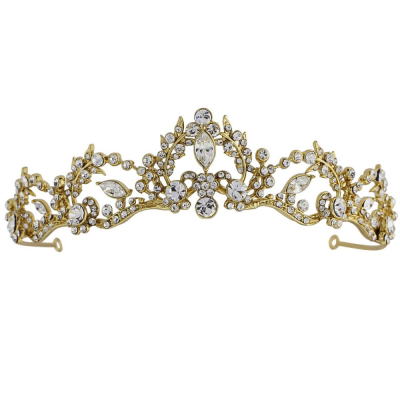 Sass B Lavina Tiara Crystal Embellished -Gold