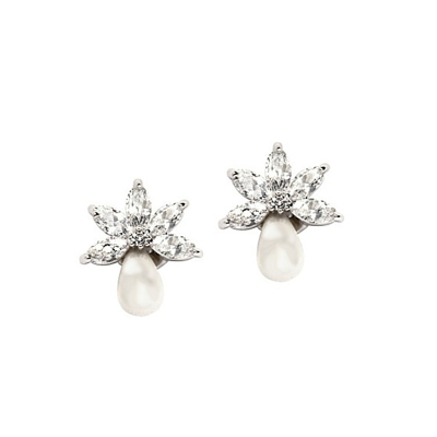 CZ Collection Pretty Chic Pearl Earrings