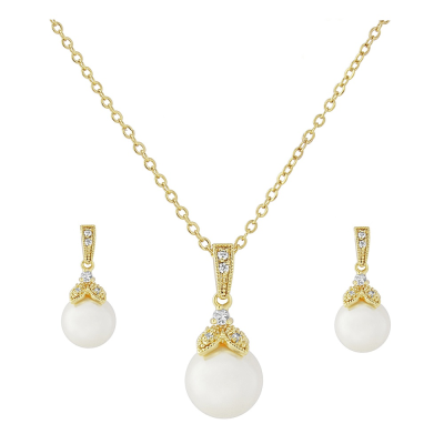 CZ Collection Precious Pearl Necklace Set - Gold
