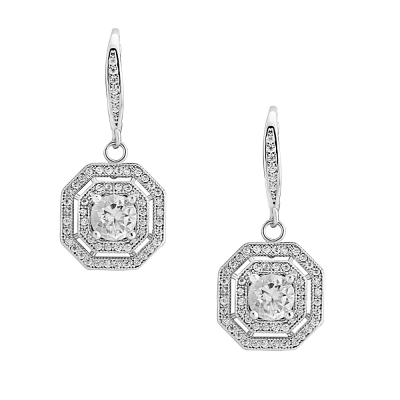 CZ Collection Crystal Deco Earrings