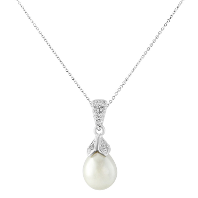 CZ Collection Classic Pearl Necklace - Ivory