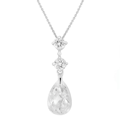 CZ Collection Austrian Crystal Drop Necklace