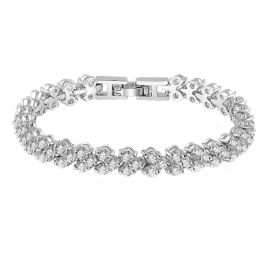 Cubic Zirconia Crystallure Bracelet - Silver