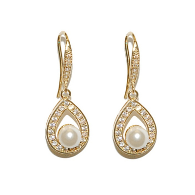 CZ Precious Pearl Earrings - Gold
