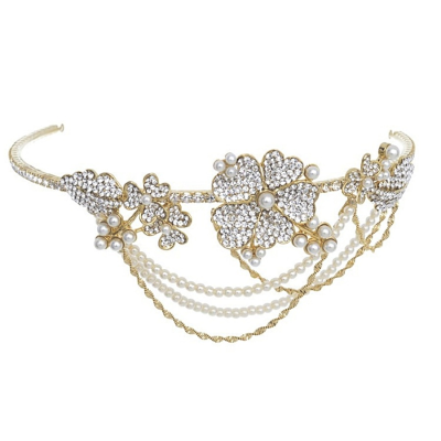 Elite Collection Bejewelled Statement Piece Brow Band - Gold