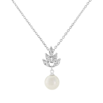 CZ Collection Vintage Pearl Drop Necklace