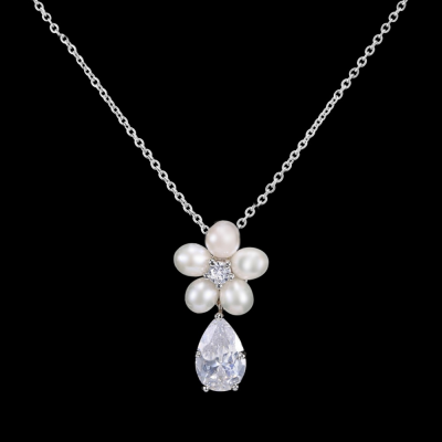 CZ Collection Dainty Pearl Necklace