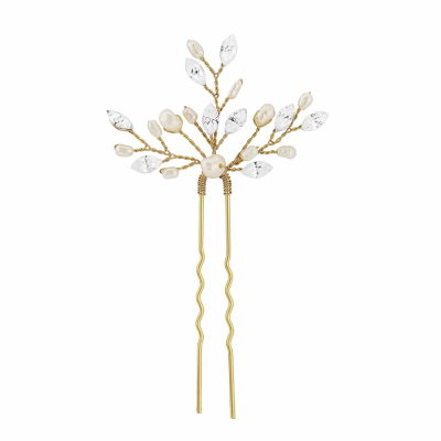 Elodie Pearl Spray Bridal Pin - Gold