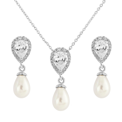 CZ Collection Elegance Pearl Necklace Set - A