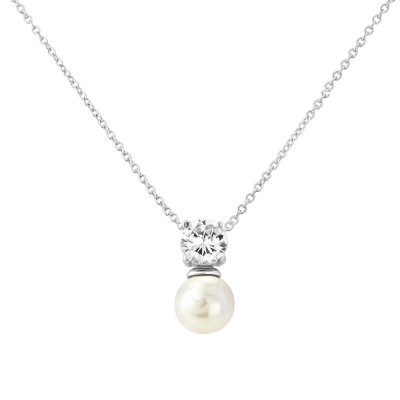 CZ Collection Delicate Pearl Necklace