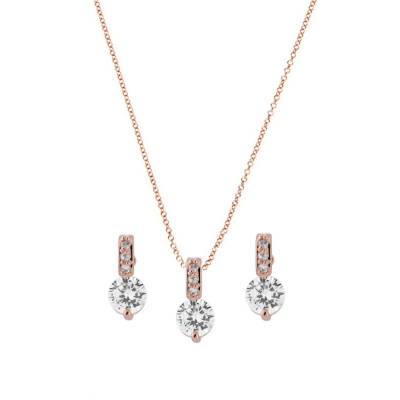 CZ Collection Classic Crystal Necklace Set - Rose Gold