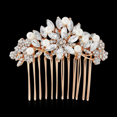 Athena Vintage Pearl Hair Comb - Rose Gold