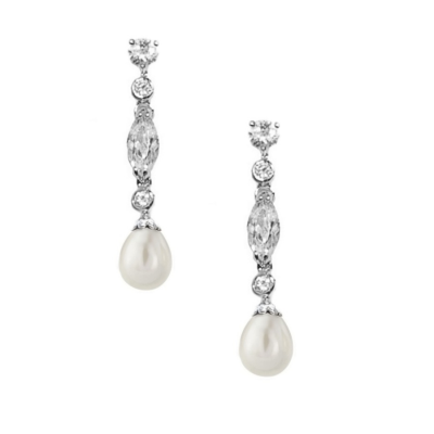 CZ Collection Glam Pearl Drop Earrings