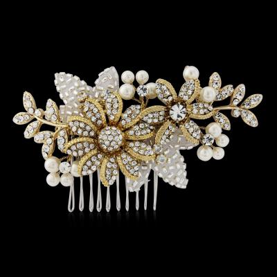 Esme Pearl Bridal Comb - Gold