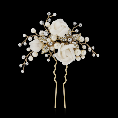 Freya Fabric Rose Bridal Pin - Gold