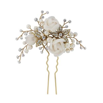 Freya Fabric Rose Bridal Pin - Gold