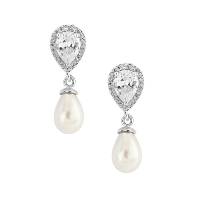 CZ Collection Elegance Pearl Earrings