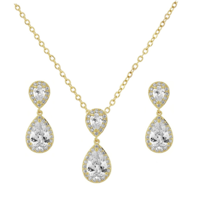 CZ Collection Chic Necklace Set - Gold