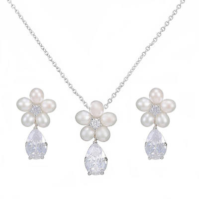 CZ Collection Glitzy Freshwater Pearl Necklace Set