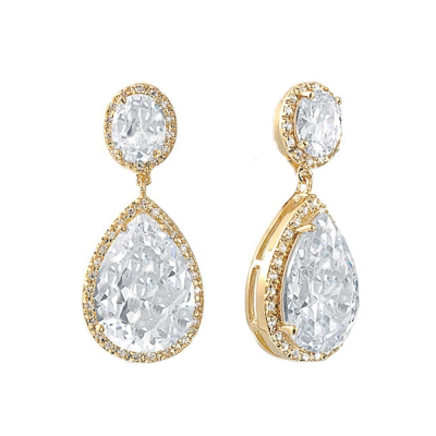 CZ Collection Sheer Elegance Earrings - Gold