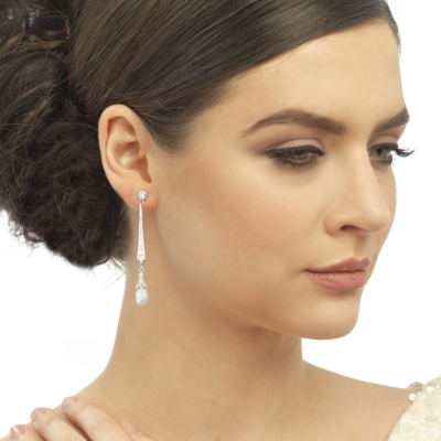 CZ Collection Glitzy Pearl Drop Earrings - Silver