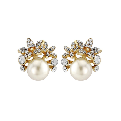 Chic Faux Pearl Earrings - Gold