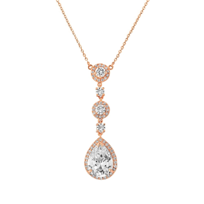 CZ Collection Eternally Crystal Necklace - Rose Gold