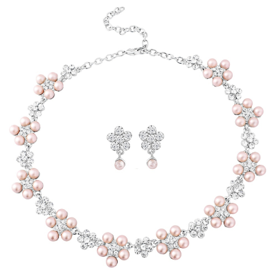 Elite Collection Chic Pearl Necklace Set - Powder Pink