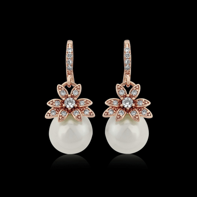 CZ Collection Vintage Chic Earrings - A - Rose Gold