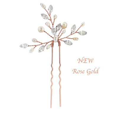 Elodie Pearl Spray Bridal Pin - Rose Gold