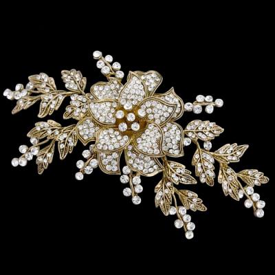 Elite Collection Vintage Floral Headpiece - Antique Gold