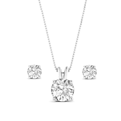 CZ Collection Classic Crystal Necklace Set - A - Silver