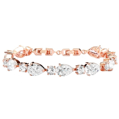 Cubic Zirconia Classic Crystal Bracelet - Rose Gold