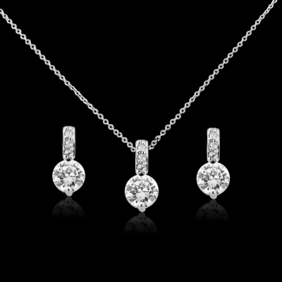 CZ Collection Classic Crystal Necklace Set