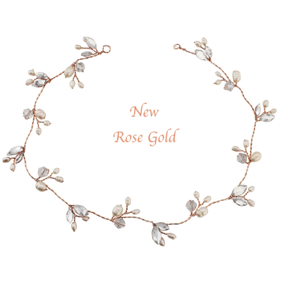 Sass B - Chic Freshwater Pearl Hairvine - Rose Gold