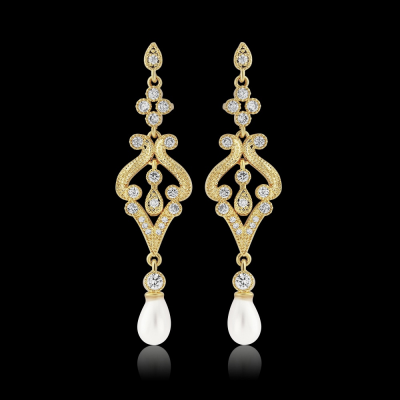 CZ Collection Enchanting Earrings - Gold