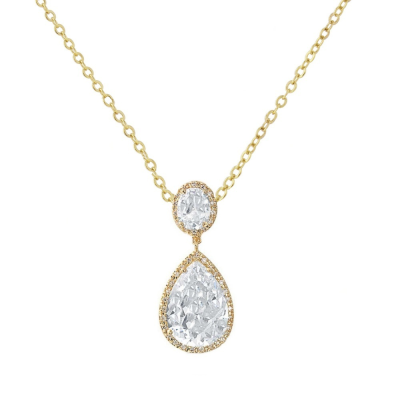 CZ Collection Sheer Elegance Necklace - Gold