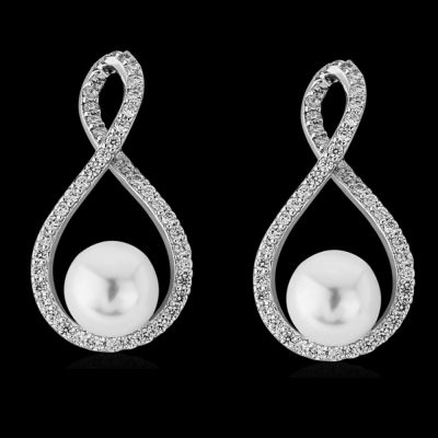 CZ Collection Exquisite Pearl Earrings
