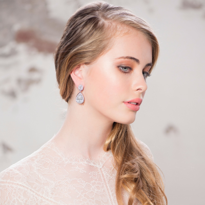 CZ Collection Sheer Elegance Earrings - Silver