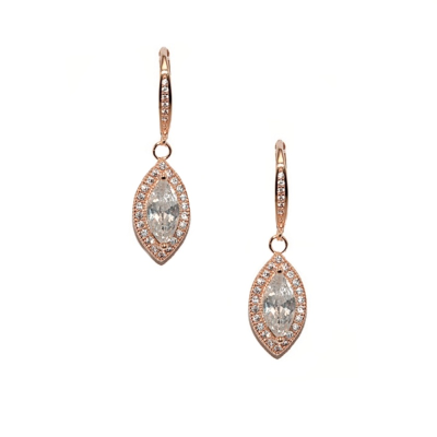 CZ Collection Dainty Crystal Drop Earrings - Rose Gold