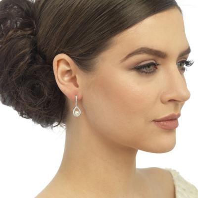 CZ Precious Pearl Earrings - Rose Gold