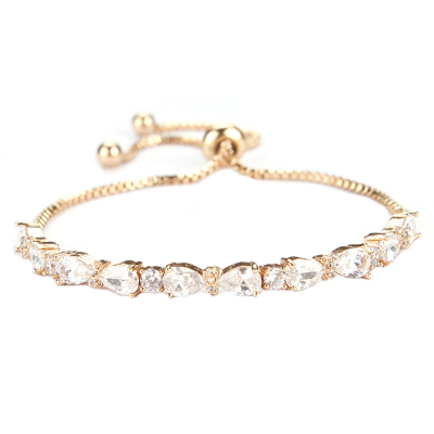 Chic CZ Bracelet - Gold -Adjustable