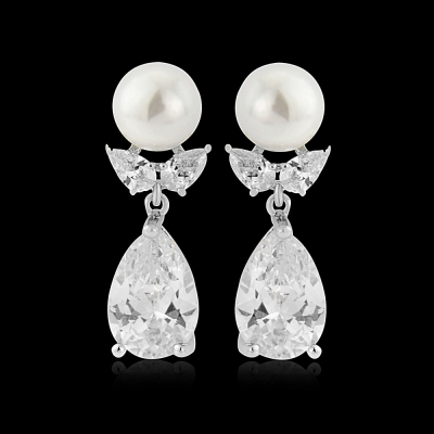CZ Collection Luscious Pearl Earrings