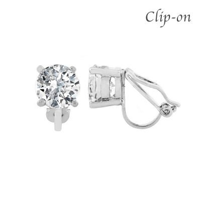 CZ Collection 8mm Solitaire Clip on Earrings - Silver