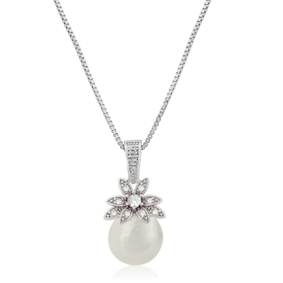 CZ Collection Vintage Chic Necklace - Silver