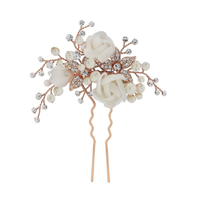 Freya Fabric Rose Bridal Pin - Rose Gold