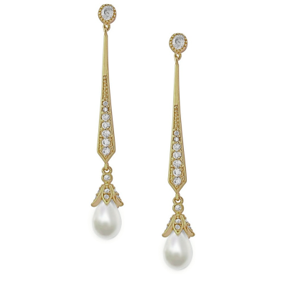 CZ Collection Glitzy Pearl Drop Earrings - Gold